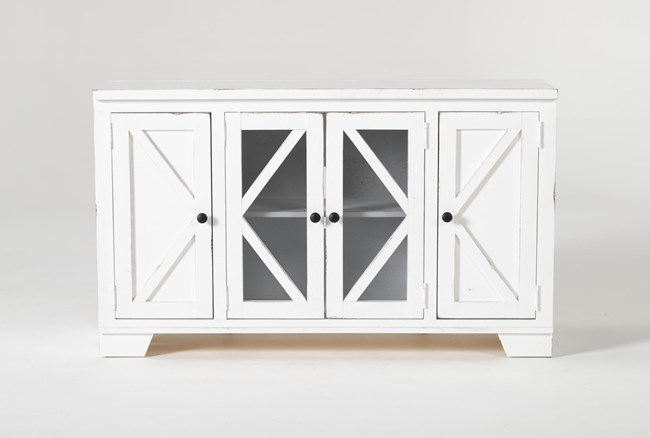 Sinclair II White 54 Inch TV Stand With Glass Doors - 360