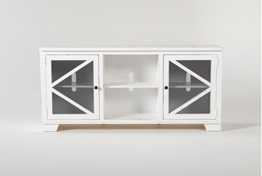 Sinclair II White 68 Inch TVStand With Glass Doors