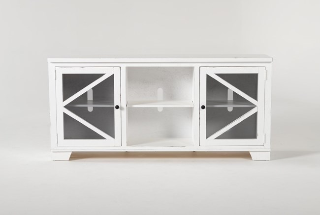 Sinclair II White 68 Inch TVStand With Glass Doors - 360