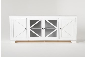 Sinclair II White 78 Inch TV Stand With Glass Doors
