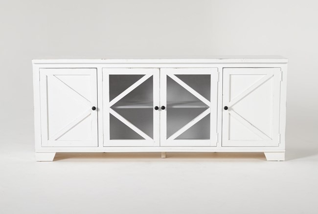 Sinclair II White 78 Inch TV Stand With Glass Doors - 360