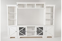 "Sinclair II White 116"" 4 Piece Entertainment Center With Glass Doors"