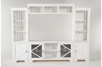 "Sinclair II White 116"" 4 Piece Entertainment Center"