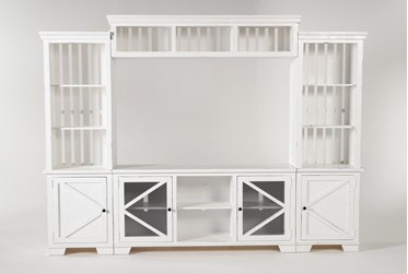 """Sinclair II White 116"""" 4 Piece Entertainment Center With Glass Doors"""