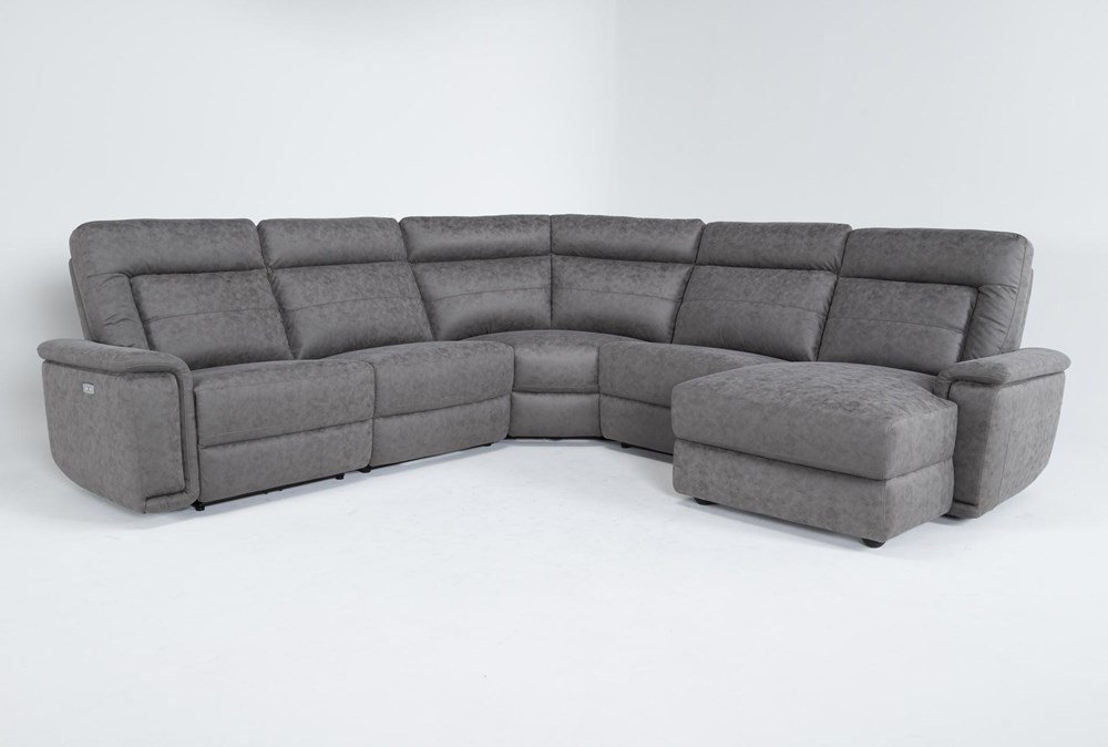 """Huntley Stone 5 Piece 117"""" Power Reclining Sectional With Right Arm Facing Chaise With USB"""