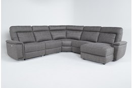 "Huntley Stone 5 Piece 117"" Power Reclining Sectional With Right Arm Facing Chaise With USB"