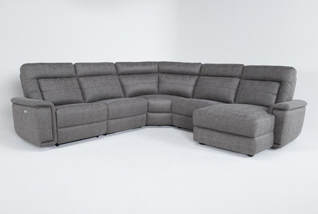 """Huntley Stone 5 Piece 117"""" Power Reclining Sectional With Right Arm Facing Chaise With USB - 360"""