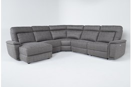 "Huntley Stone 5 Piece 117"" Power Reclining Sectional With Left Arm Facing Chaise With USB"
