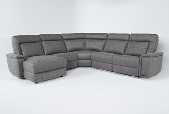 """Huntley Stone 5 Piece 117"""" Power Reclining Sectional With Left Arm Facing Chaise With USB"""