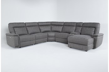 Kit-Huntley Stone 6 Piece Power Reclining Sectional With Raf Chaise W/Usb