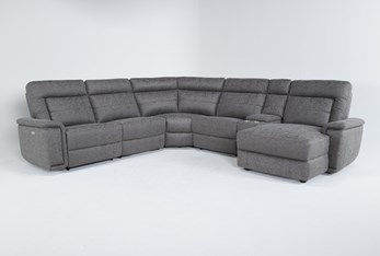 """Huntley Stone 6 Piece 117"""" Power Reclining Sectional With Right Arm Facing Chaise With USB"""