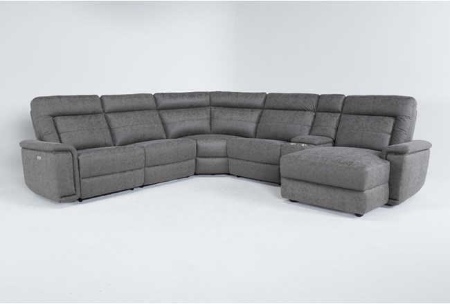 """Huntley Stone 6 Piece 117"""" Power Reclining Sectional With Right Arm Facing Chaise With USB - 360"""