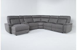 "Huntley Stone 6 Piece 117"" Power Reclining Sectional With Left Arm Facing Chaise With USB"