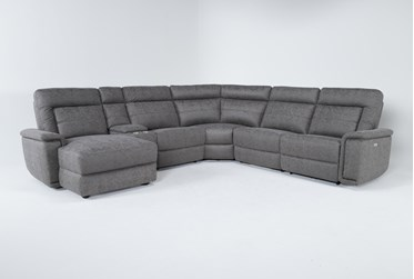 """Huntley Stone 6 Piece 117"""" Power Reclining Sectional With Left Arm Facing Chaise With USB"""