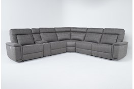 "Huntley Stone 6 Piece 117"" Power Reclining Sectional With USB"