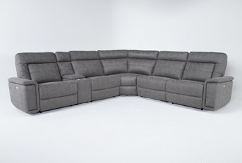 """Huntley Stone 6 Piece 117"""" Power Reclining Sectional With USB"""