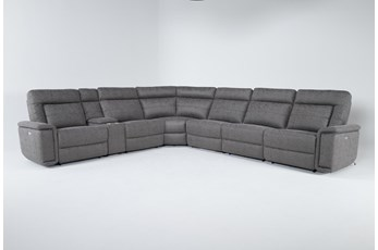 Kit-Huntley Stone 7 Piece Power Reclining Sectional W/Usb