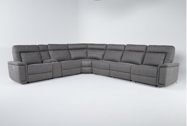 """Huntley Stone 7 Piece 148"""" Power Reclining Sectional With USB"""