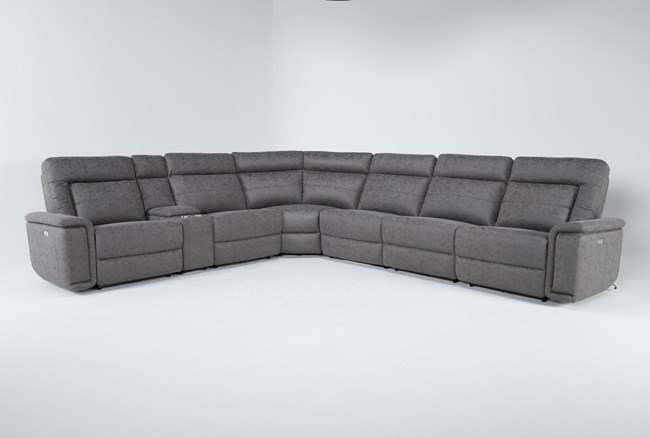 """Huntley Stone 7 Piece 148"""" Power Reclining Sectional With USB - 360"""