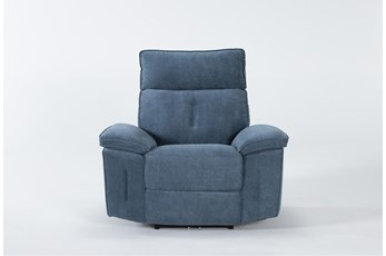 Pippa Blue Power Recliner W/Power Headrest