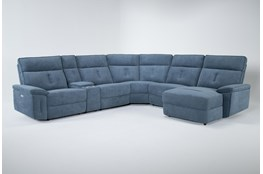 "Pippa Blue 6 Piece 214"" Power Reclining Sectional With Right Arm Facing Chaise & Power Headrest"