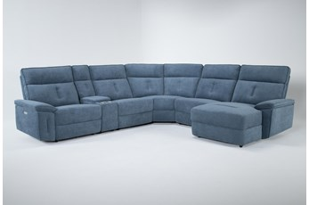 Kit-Pippa Blue 6 Piece Power Reclining Sectional W/Raf Chaise & Pwr Headrest