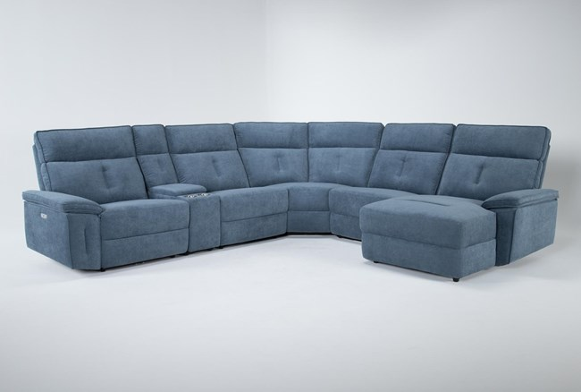 """Pippa Blue 6 Piece 214"""" Power Reclining Sectional With Right Arm Facing Chaise & Power Headrest - 360"""