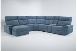 "Pippa Blue 6 Piece 214"" Power Reclining Sectional With Left Arm Facing Chaise & Power Headrest"