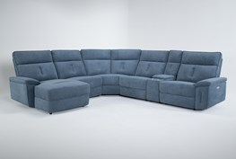 """Pippa Blue 6 Piece 214"""" Power Reclining Sectional With Left Arm Facing Chaise & Power Headrest"""