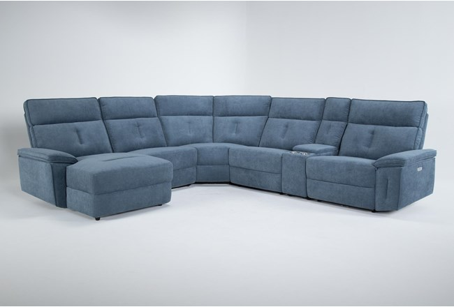 Pippa Blue 6 Piece Power Reclining Sectional With Left Arm Facing Chaise & Power Headrest - 360