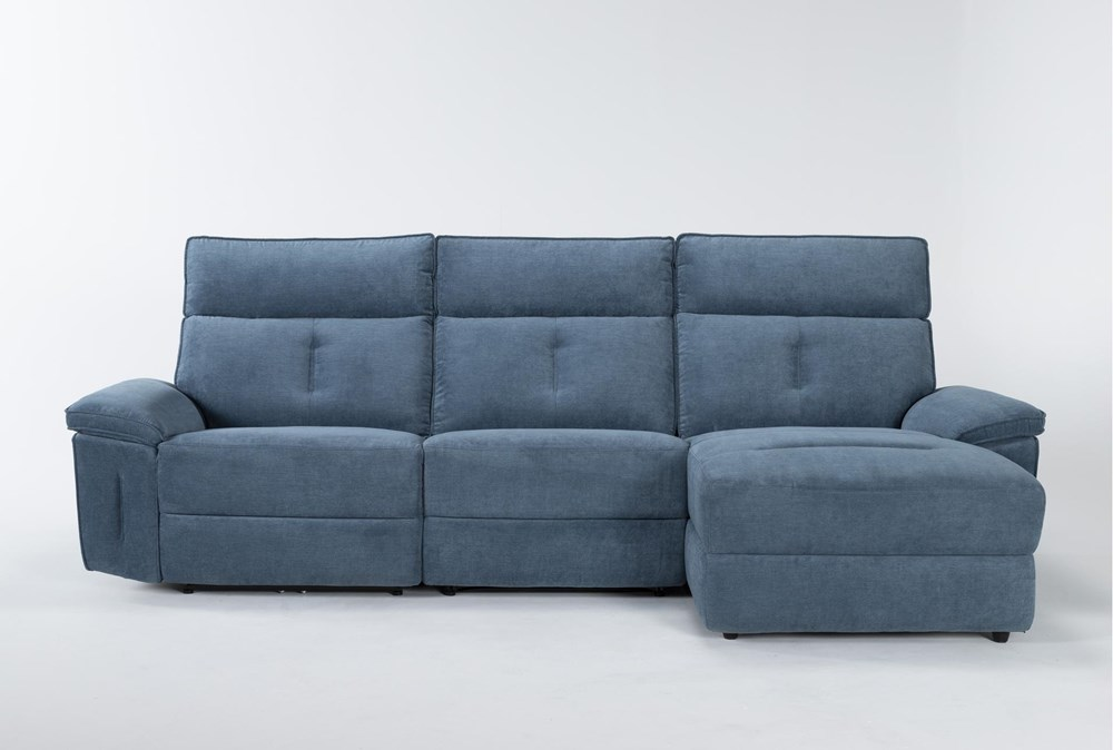 "Pippa Blue 3 Piece 111"" Sectional With Right Arm Facing Chaise & Power Headrest"