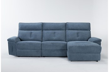 Pippa Blue 3 Piece Sectional With Right Arm Facing Chaise & Power Headrest