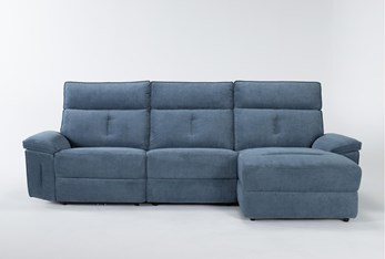 """Pippa Blue 3 Piece 111"""" Sectional With Right Arm Facing Chaise & Power Headrest"""