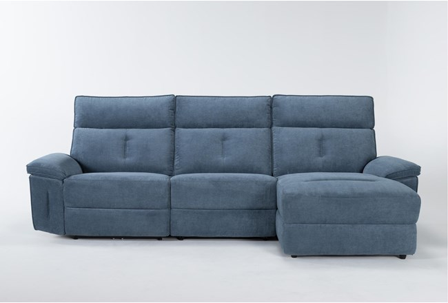 "Pippa Blue 3 Piece 111"" Sectional With Right Arm Facing Chaise & Power Headrest - 360"