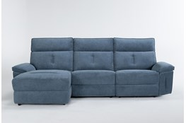 "Pippa Blue 3 Piece 111"" Sectional With Left Arm Facing Chaise & Power Headrest"