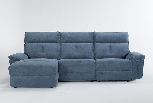 """Pippa Blue 3 Piece 111"""" Sectional With Left Arm Facing Chaise & Power Headrest - 360"""