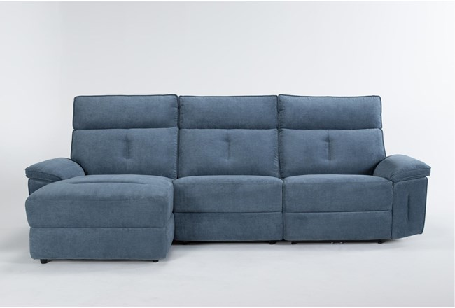 "Pippa Blue 3 Piece 111"" Sectional With Left Arm Facing Chaise & Power Headrest - 360"