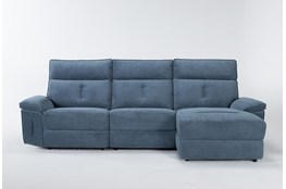Pippa Blue 3 Piece Sectional With Armless Recliner, Right Arm Facing Chaise & Power Headrest