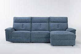 """Pippa Blue 3 Piece 111"""" Sectional With Armless Recliner, Right Arm Facing Chaise & Power Headrest"""