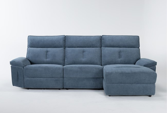 """Pippa Blue 3 Piece 111"""" Sectional With Armless Recliner, Right Arm Facing Chaise & Power Headrest - 360"""