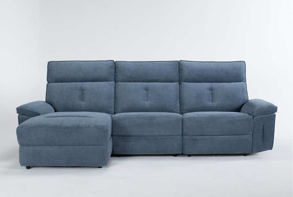 "Pippa Blue 3 Piece 111"" Sectional With Armless Recliner, Left Arm Facing Chaise & Power Headrest"