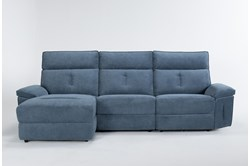 """Pippa Blue 3 Piece 111"""" Sectional With Armless Recliner, Left Arm Facing Chaise & Power Headrest"""