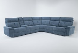 """Pippa Blue 6 Piece 214"""" Power Reclining Sectional With Power Headrest"""