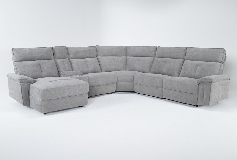 """Pippa Grey 6 Piece 122"""" Power Reclining Sectional With Left Arm Facing Chaise & Power Headrest"""