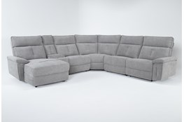 "Pippa Grey 6 Piece 122"" Power Reclining Sectional With Left Arm Facing Chaise & Power Headrest"