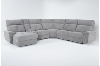 Pippa Grey 6 Piece Power Reclining Sectional With Left Arm Facing Chaise & Power Headrest