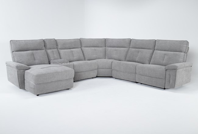 """Pippa Grey 6 Piece 122"""" Power Reclining Sectional With Left Arm Facing Chaise & Power Headrest - 360"""
