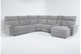 "Pippa Grey 6 Piece 122"" Power Reclining Sectional With Right Arm Facing Chaise & Power Headrest"