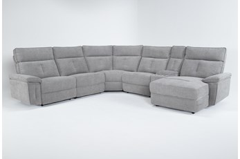 Pippa Grey 6 Piece Power Reclining Sectional With Right Arm Facing Chaise & Power Headrest
