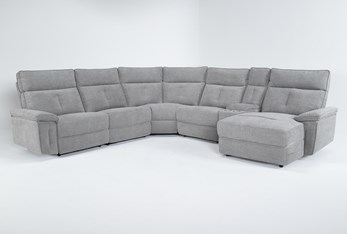"""Pippa Grey 6 Piece 122"""" Power Reclining Sectional With Right Arm Facing Chaise & Power Headrest"""